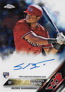 Socrates Brito Autograph on a 2016 Topps Chrome Baseball Card (#RA-SOB)