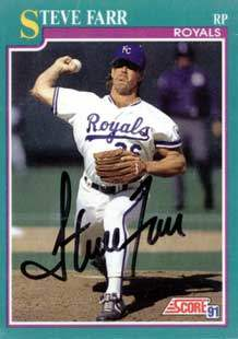 Steve Farr Autograph on a 1991 Score Baseball Card (#172 | <a href='../baseball_cards/baseball_cards_oneset.php?s=1991sco01' title='1991 Score Baseball Card Checklist'>Checklist</a>)