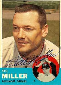 Stu Miller Autograph on a 1963 Topps Baseball Card (#286 | <a href='../baseball_cards/baseball_cards_oneset.php?s=1963top01' title='1963 Topps Baseball Card Checklist'>Checklist</a>)