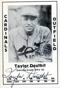 Taylor Douthit Autograph on a 1979 Diamond Greats (#152)