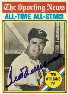 Ted Williams Autograph on a 1976 Topps Sporting News All-Time All-Stars Baseball Card (#347 | <a href='../baseball_cards/baseball_cards_oneset.php?s=1976top01' title='1976 Topps Baseball Card Checklist'>Checklist</a>)