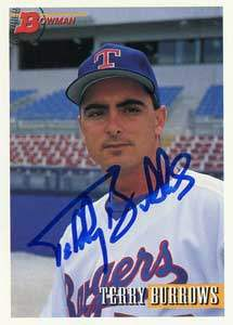 Terry Burrows Autograph on a 1993 Bowman (#573)