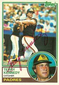 Terry Kennedy Autograph on a 1983 Topps Baseball Card (#274 | <a href='../baseball_cards/baseball_cards_oneset.php?s=1983top03' title='1983 Topps Baseball Card Checklist'>Checklist</a>)
