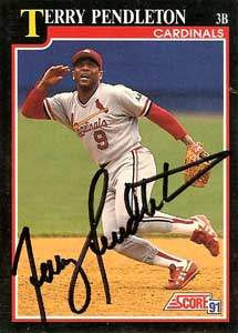 Terry Pendleton Autograph on a 1991 Score Baseball Card (#230 | <a href='../baseball_cards/baseball_cards_oneset.php?s=1991sco01' title='1991 Score Baseball Card Checklist'>Checklist</a>)