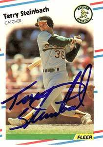 Terry Steinbach Autograph on a 1988 Fleer (#294)