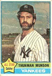 Thurman Munson Autograph on a 1976 Topps Baseball Card (#650 | <a href='../baseball_cards/baseball_cards_oneset.php?s=1976top01' title='1976 Topps Baseball Card Checklist'>Checklist</a>)