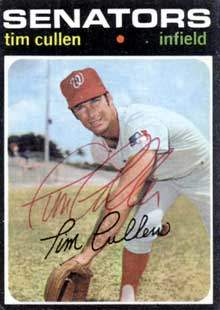 Tim Cullen Autograph on a 1971 Topps Baseball Card (#566 | <a href='../baseball_cards/baseball_cards_oneset.php?s=1971top01' title='1971 Topps Baseball Card Checklist'>Checklist</a>)