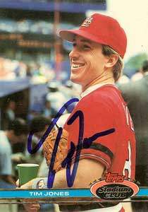 Tim Jones Autograph on a 1991 Topps Stadium Club (#121)