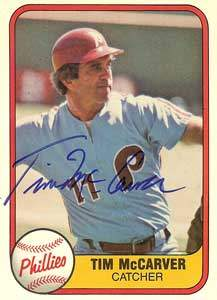 Tim McCarver Autograph on a 1981 Fleer (#27)
