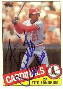Tito Landrum Autograph on a 1985 Topps Baseball Card (#33 | <a href='../baseball_cards/baseball_cards_oneset.php?s=1985top06' title='1985 Topps Baseball Card Checklist'>Checklist</a>)