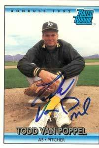 Tood Van Poppel Autograph on a 1991 Donruss Rated Rookie (#9)