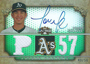 Tommy Milone Autograph on a 2013 Topps Triple Threads (#49/50)
