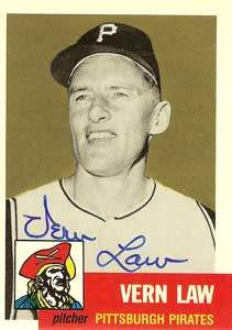 Vern 'Deacon' Law Autograph on a 1953 Topps Archives Baseball Card (#324)