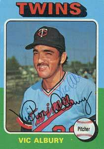 Vic Albury Autograph on a 1975 Topps Baseball Card (#368 | <a href='../baseball_cards/baseball_cards_oneset.php?s=1975top01' title='1975 Topps Baseball Card Checklist'>Checklist</a>)
