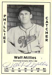 Walt Millies Autograph on a 1979 Diamond Greats (#306)