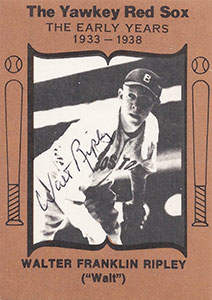 Walt Ripley Autograph on a 1972 Yawkey Red Sox