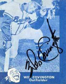 Wes Covington Autograph on a 1960 Braves Tribute