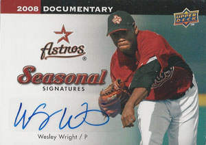 Wesley Wright Autograph on a 2008 Upper Deck Documentary Baseball Card (#WW)