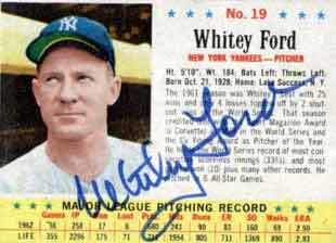 Whitey Ford Autograph on a 1963 Post Cereal Baseball Card (#19)