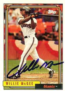 Willie McGee Autograph on a 1992 Topps (#65)