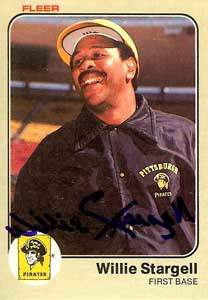 Willie 'Pops' Stargell Autograph on a 1983 Fleer Baseball Card (#324 | <a href='../baseball_cards/baseball_cards_oneset.php?s=1983fle01' title='1983 Fleer Baseball Card Checklist'>Checklist</a>)