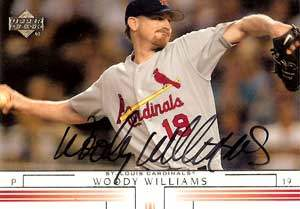 Woody Williams Autograph on a 2002 Upper Deck Baseball Card (#651)