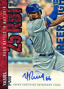 Yasiel Puig Autograph on a 2015 Topps Career High Baseball Card