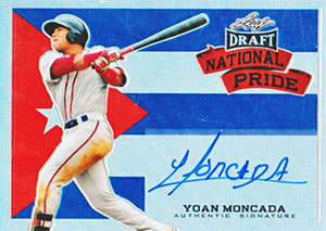 Yoan 'Yoyo' Moncada Autograph on a 2015 Leaf Draft National Pride Baseball Card (#NP-YM1)