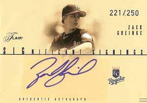 Zack Greinke Autograph on a 2005 Flair Significant Signings Baseball Card (#221)