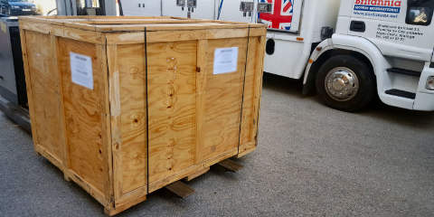 Wooden crate ready to be shipped as LCL to Thailand