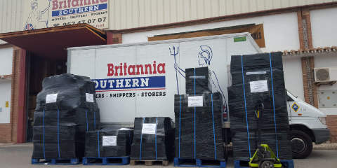 Pallets prepared for transport outside the Britannia depot in Fuengirola