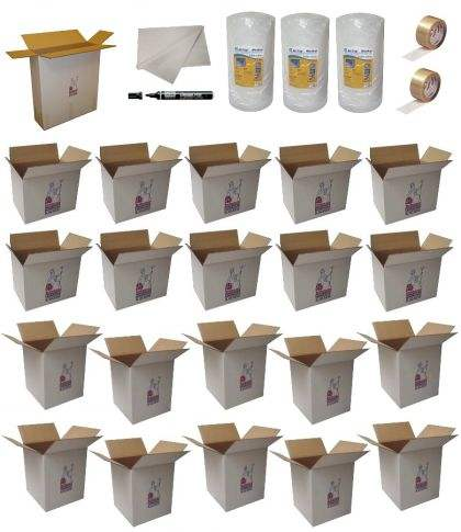 10 standard removal cartons plus 10 book cartons, paper, bubble wrap and tape