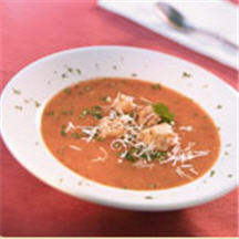 Roasted Tomato and Chile Soup with Gruyère Croutons