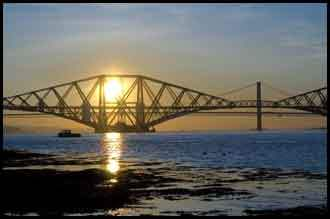 Images of Fife Scotland - the Forth Rail Bridge at sunset.
