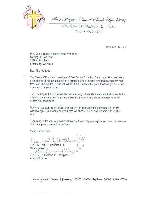 south baptists thank you letter
